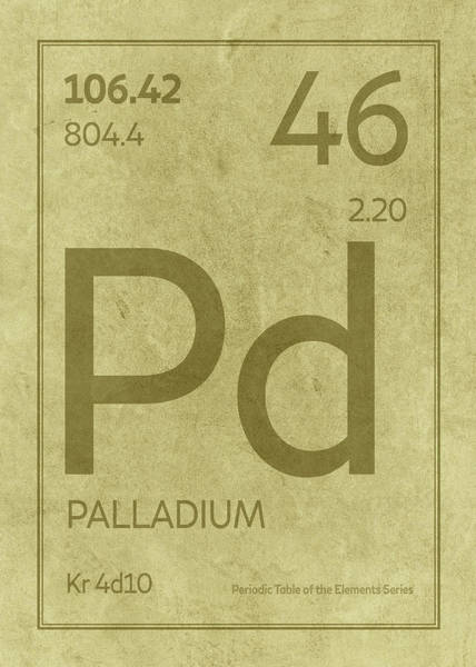 Elements Mixed Media - Palladium Element Symbol Periodic Table Series 046 by Design Turnpike