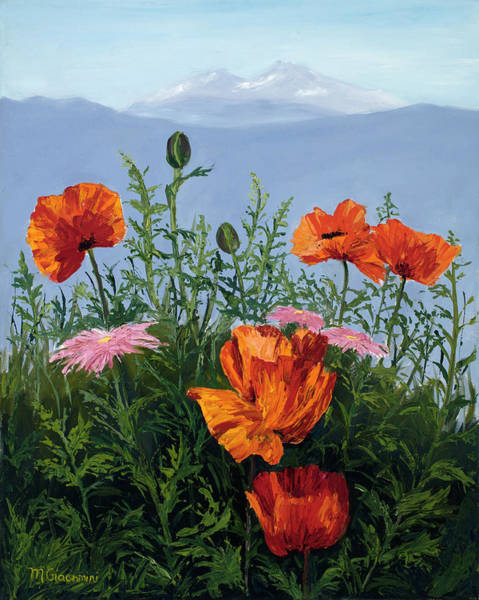 Wall Art - Painting - Pallet Knife Poppies by Mary Giacomini