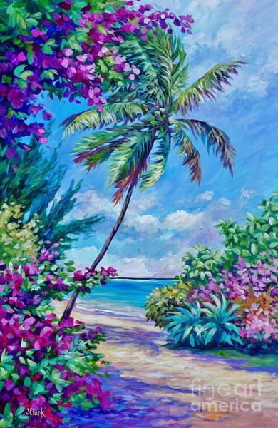 Wall Art - Painting - Palm And Bougainvillea by John Clark