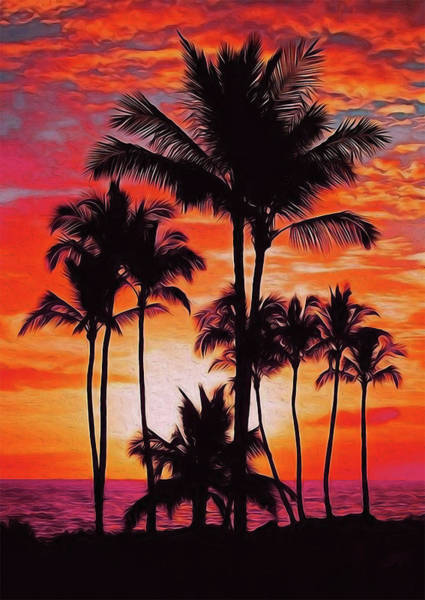 Painting - Palm Beach At Sunset by Andrea Mazzocchetti