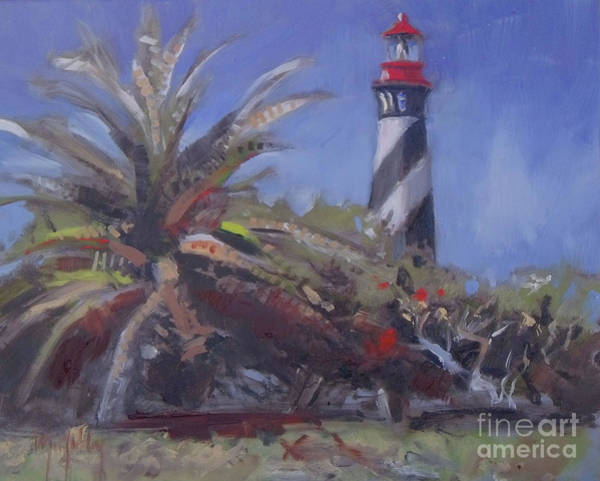 Saint Augustine Beach Wall Art - Painting - Palm By The Lighthouse by Mary Hubley