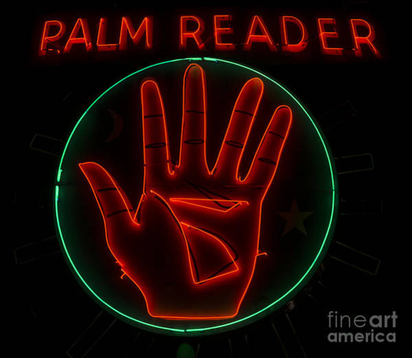 Palm Reading Wall Art - Photograph - Palm Reader Neon Sign by Mindy Sommers