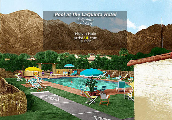 Wall Art - Painting - Palm Springs And La Quinta Art Entitled Pool At The La Quinta Inn C1948 by Melvin Hale