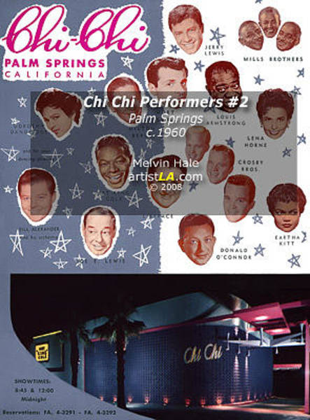 Wall Art - Painting - Palm Springs Art Entitled Chi Chi Blue Starlite Room Performers C1960 by Melvin Hale