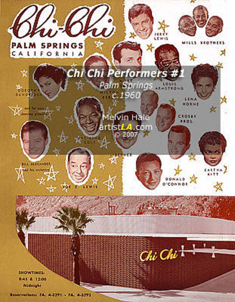 Wall Art - Painting - Palm Springs Art Entitled Chi Chi Performers I Circa 1960 by Melvin Hale