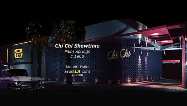 Wall Art - Painting - Palm Springs Art Entitled Chi Chi Showtime C1959 by Melvin Hale