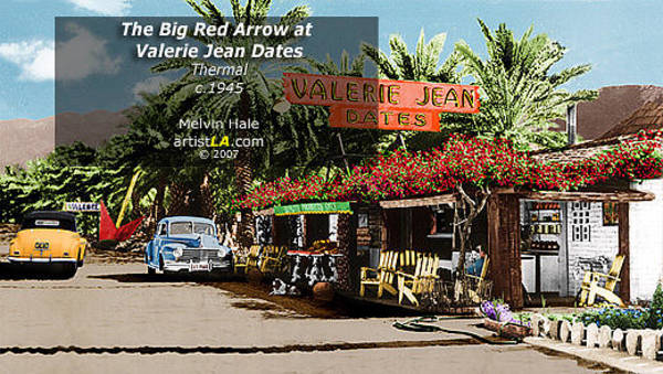 Wall Art - Painting - Palm Springs Art Entitled The Big Red Arrow At Valerie Jean Dates Circa 1945 by Melvin Hale