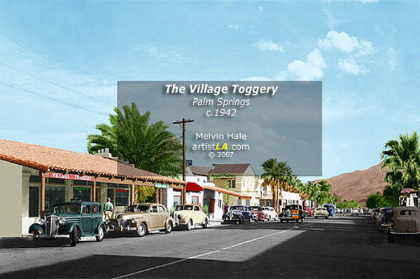 Wall Art - Painting - Palm Springs Art Entitled The Village Toggery C1942 by Melvin Hale