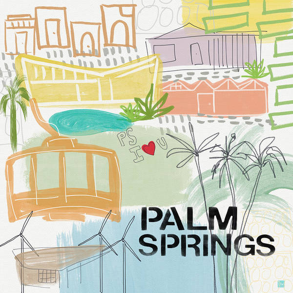 Gallery Wall Wall Art - Painting - Palm Springs Cityscape- Art By Linda Woods by Linda Woods