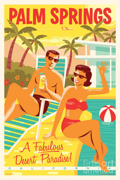 Wall Art - Digital Art - Palm Springs Poster - Retro Travel by Jim Zahniser