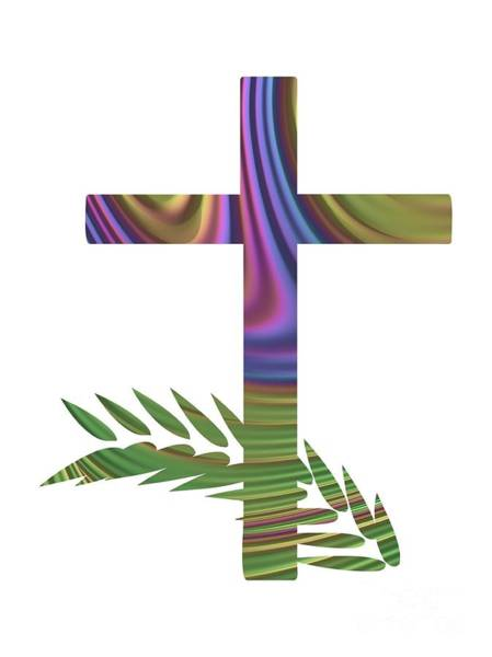 Digital Art - Palm Sunday Cross With Fractal Abstract by Rose Santuci-Sofranko