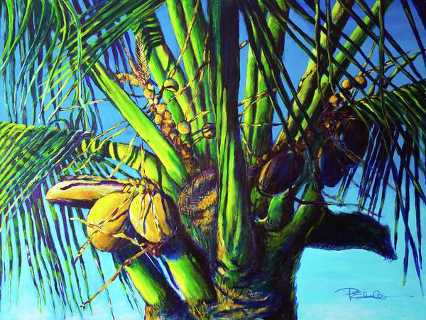 Us Virgin Islands Painting - Palm Tree At Sunset by Paulene Edwards