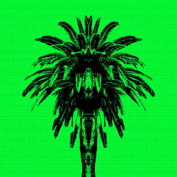 Wall Art - Digital Art - Palm Tree - Green Sky by Edouard Coleman