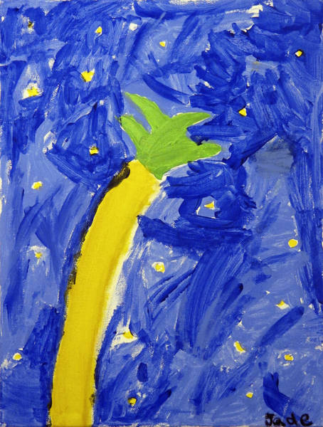 Skipping Painting - Palm Tree And Stars by Skip Nall