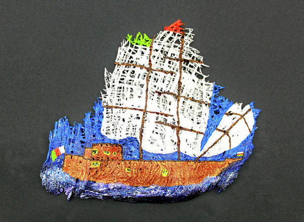 Mixed Media - Palm  Tree  Sailing  Vessel by Carl Deaville