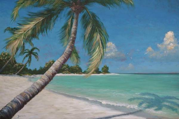 Palm Trees And Beach By Alan Zawacki Art Print