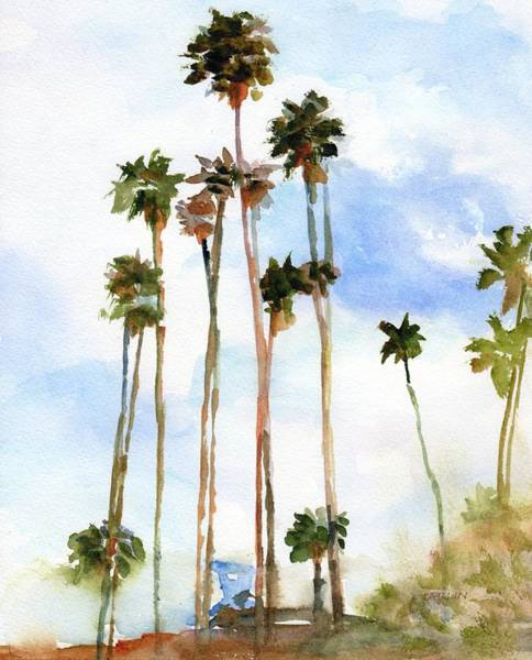 Wall Art - Painting - Palm Trees And Lifeguard Tower  by Carlin Blahnik CarlinArtWatercolor