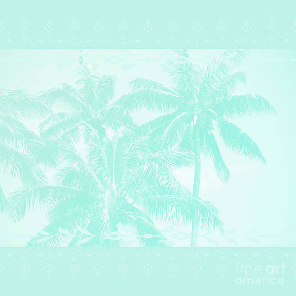 Photograph - Palm Trees Hawaii Tropical Cyan by Sharon Mau