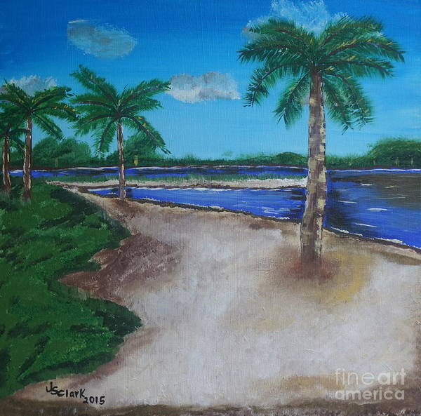 Painting - Palm Trees On The Beach by Jimmy Clark