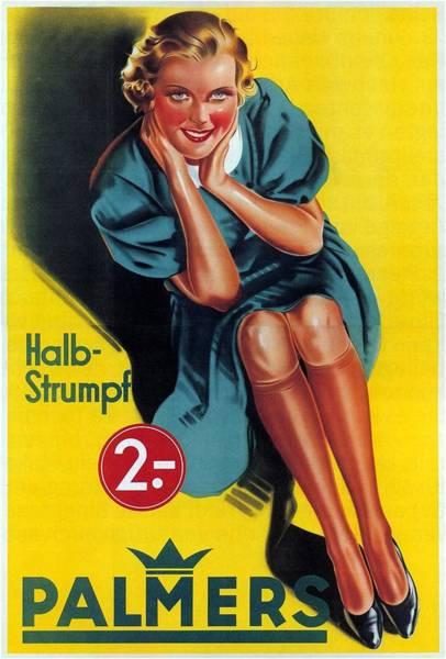 Lingery Wall Art - Mixed Media - Palmers - Halb-strumpf - Vintage Germany Advertising Poster by Studio Grafiikka