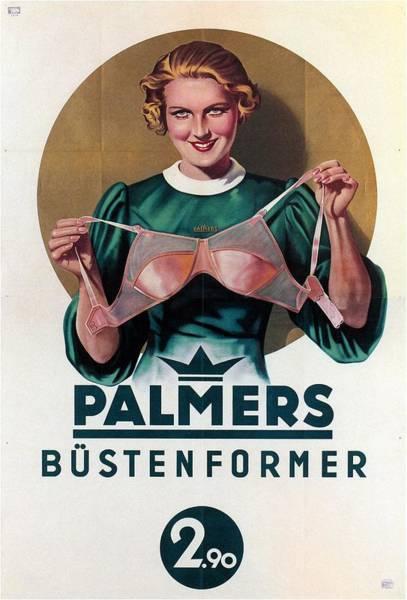 Lingery Wall Art - Mixed Media - Palmers - Vintage Germany Hosiery Advertising Poster by Studio Grafiikka