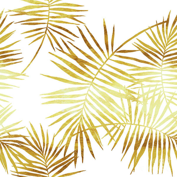 Palm Frond Digital Art - Palmes Dor Golden Palm Fronds And Leaves by Tina Lavoie