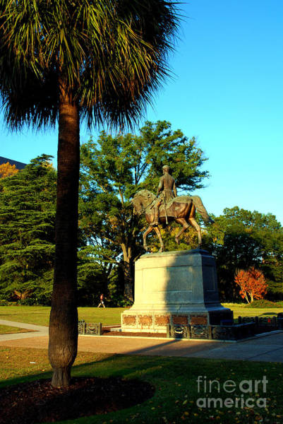 Photograph - Palmetto Tree And Statue Of W Hampton In Columbia South Carolina by Susanne Van Hulst