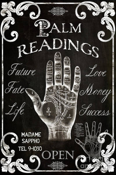 Palm Reading Wall Art - Painting - Palmistry Sign Vintage Style by Mindy Sommers