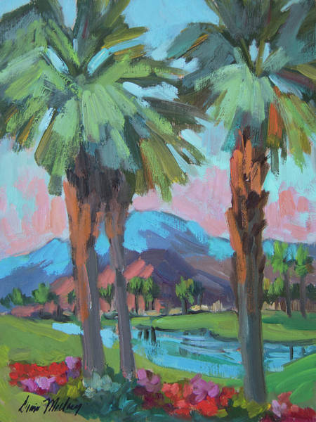 Wall Art - Painting - Palms And Coral Mountain by Diane McClary