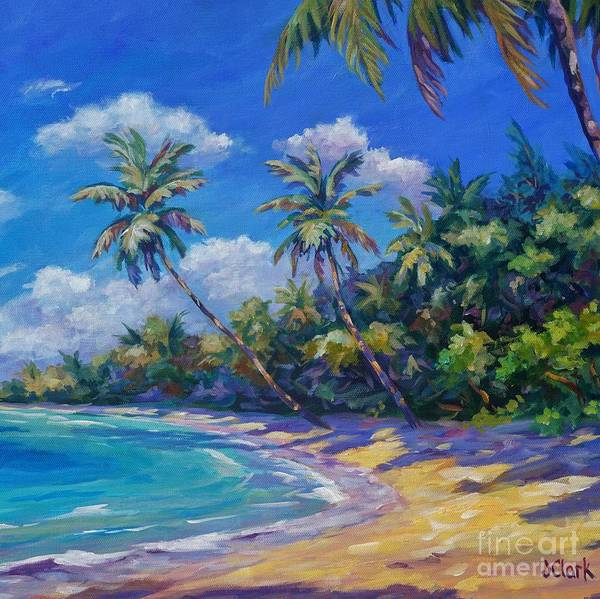 Wall Art - Painting - Palms In Paradise Square by John Clark