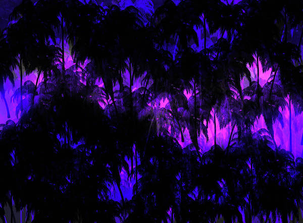 Wall Art - Mixed Media - Palms Pink And Purple by Lisa Stanley