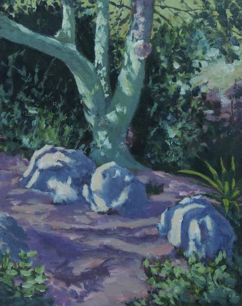 Sw Painting - Palo Verde Shadows - Art By Bill Tomsa by Bill Tomsa
