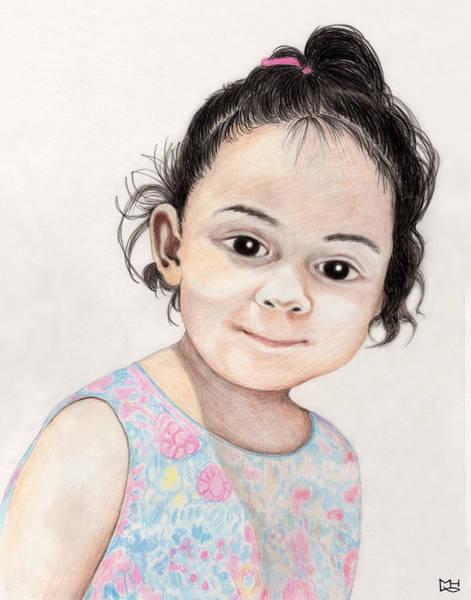 Dark Pink Drawing - Paloma by Marilyn Hilliard