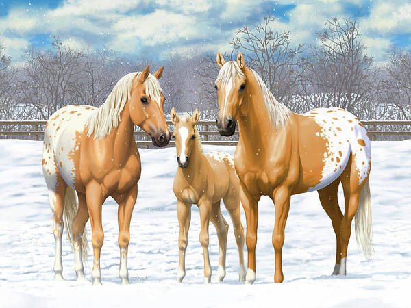 Wall Art - Painting - Palomino Appaloosa Horses In Winter by Crista Forest