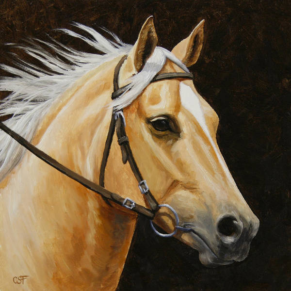 Wall Art - Painting - Palomino Horse Portrait by Crista Forest