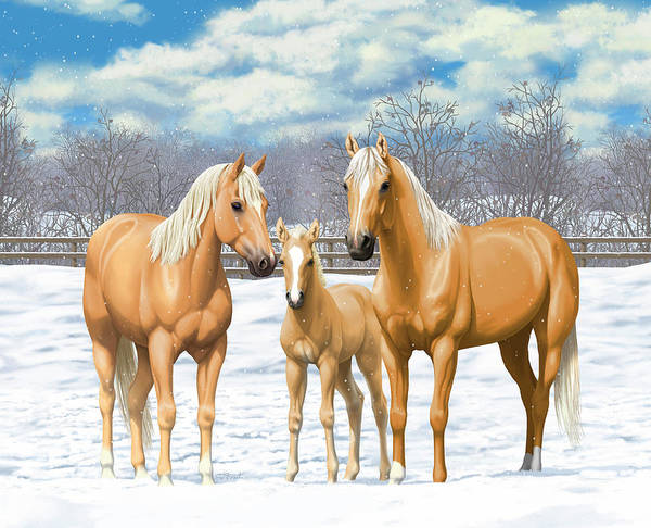 Wall Art - Painting - Palomino Horses In Winter Pasture by Crista Forest