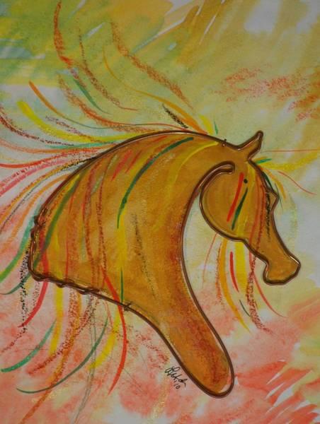 Palomino Horse Mixed Media - Palomino by Leitha Stone