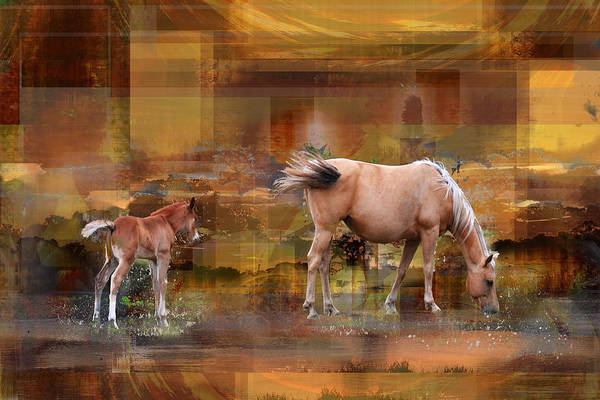 Digital Art - Palomino Mare And Foal In Abstract by rd Erickson