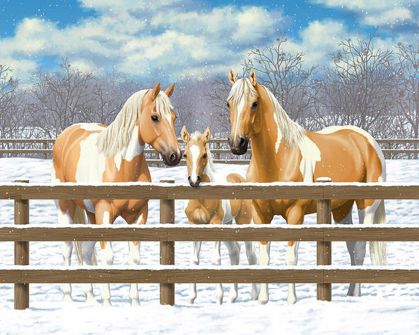 Wall Art - Painting - Palomino Paint Horses In Snow by Crista Forest