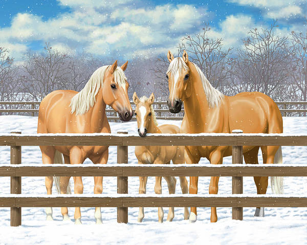 Wall Art - Painting - Palomino Quarter Horses In Snow by Crista Forest