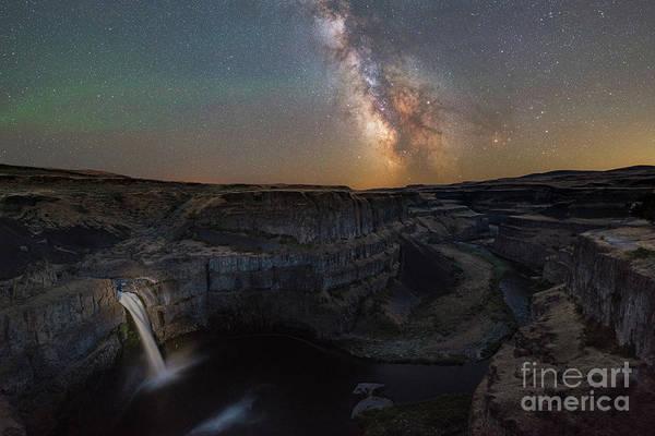Photograph - Palouse Falls Under Night Lights by Michael Ver Sprill