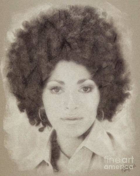 Pinewood Drawing - Pam Grier, Vintage Actress by John Springfield