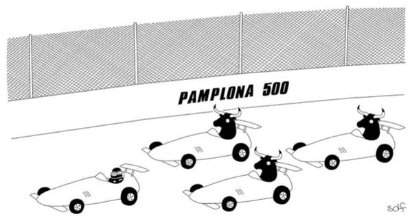 Racing Cars Drawing - Pamplona 500 by Seth Fleishman