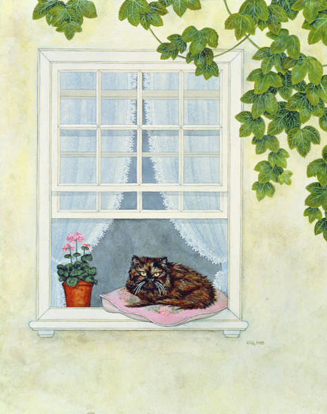 Sill Wall Art - Painting - Pam's Cat  by Ditz