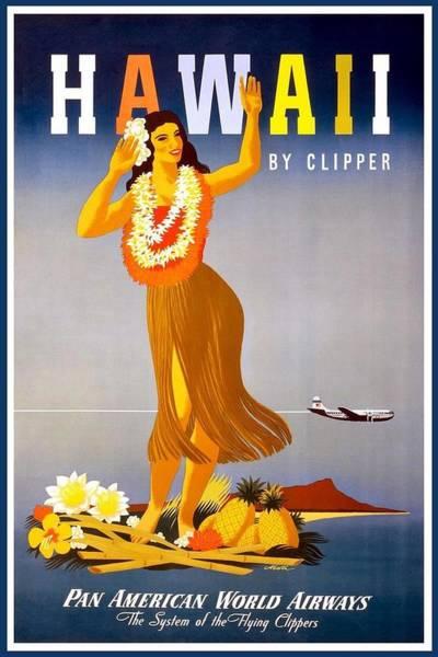 Wall Art - Mixed Media - Pan American World Airways - Hawaii - Retro Travel Poster - Vintage Poster by Studio Grafiikka