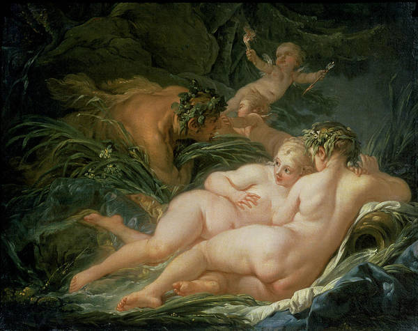 Francois Boucher Painting - Pan And Syrinx by Francois Boucher