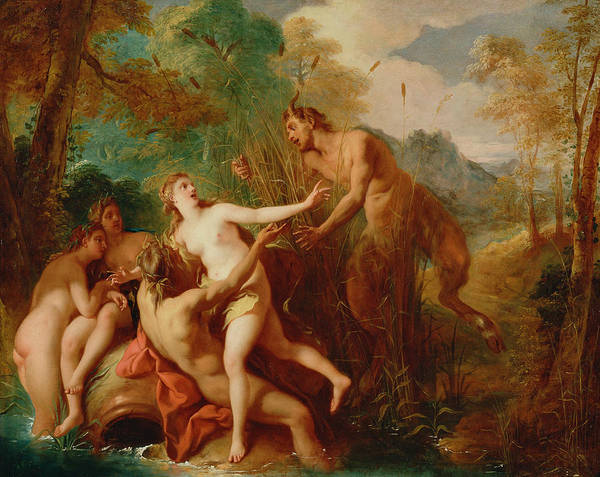 Painting - Pan And Syrinx by Jean-Francois de Troy