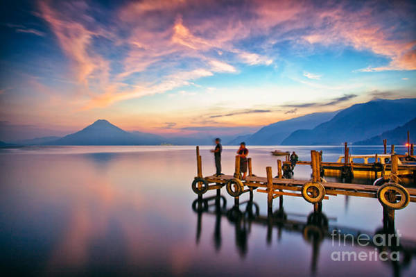 Photograph - Panajachel Pier At Sunset, Lake Atitlan, Guatemala by Sam Antonio Photography