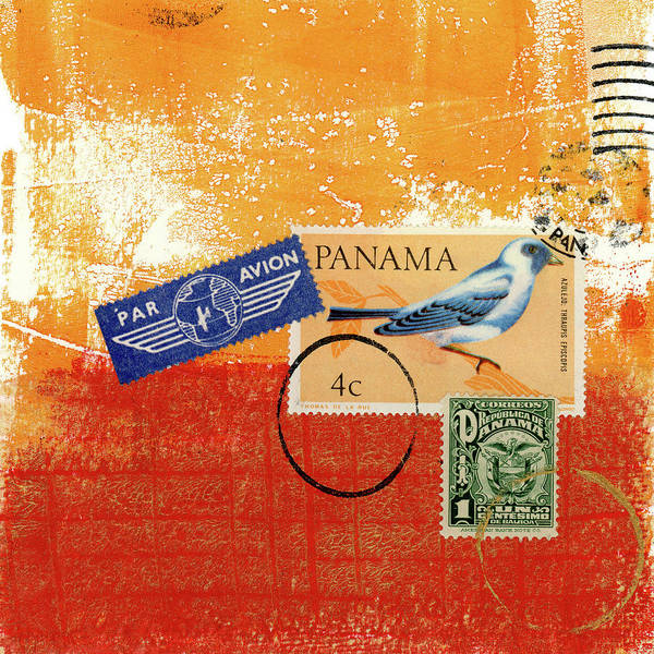 Wall Art - Mixed Media - Panama Postal Collage by Carol Leigh
