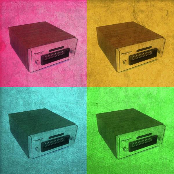 Wall Art - Mixed Media - Panasonic 8 Track Player Vintage Pop Art Color Quadrants by Design Turnpike
